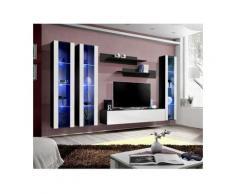 Meuble TV FLY C2 design, coloris noir et blanc brillant. Meuble suspendu moderne et tendance pour