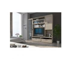 Dmora Système mural de salon, Meuble TV avec vitrine et éléments hauts avec étagères, Séjour
