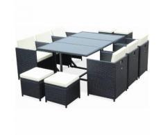 Salon de jardin Cubo Noir table en résine tressée 6 à 10 places, fauteuils encastrables