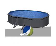 Kit piscine acier gris anthracite Juni ovale 6,34 x 3,99 x 1,32 m + Bâche à bulles - GRÉ