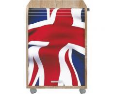 Caisson à rideau 2 tiroirs chêne naturel imprimé drapeau Anglais Orga