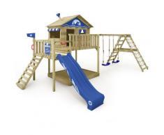 WICKEY Aire de jeux Portique bois Smart Ocean avec balançoire et toboggan bleu Maison enfant sur