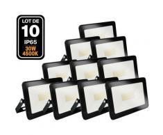 Lot de 10 Projecteur LED 30W Ipad Blanc neutre 4500K Haute Luminosité