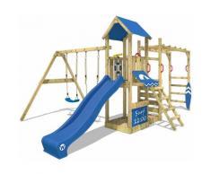 Aire de jeux Portique bois Smart Dock avec balançoire et toboggan bleu Échafaudage grimpant avec