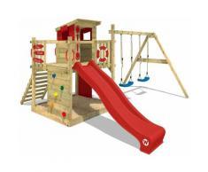 WICKEY Aire de jeux Portique bois Smart Camp avec balançoire et toboggan rouge Cabane enfant