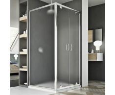 Parois cabine de douche saloon verre opaque h 185 mod Sintesi duo 2 portes 80x120 ouv. 120 cm