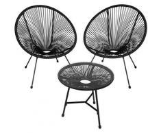 Tectake - 2 Fauteuils Acapulco et 1 Table de Jardin de Salon Design rétro Cadre en Acier Noir