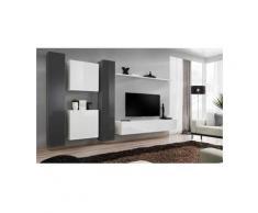 Ensemble meuble salon mural SWITCH VI design, coloris blanc et gris brillant. - Blanc