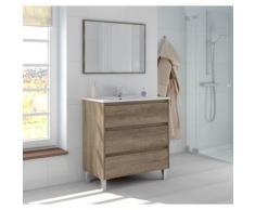 Meuble de salle de bain Dakota sur le sol 80 cm avec miroir | Couleur - Avec lampe Led
