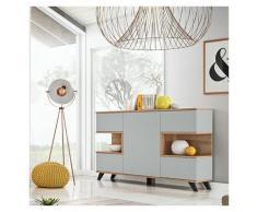 Price Factory - Buffet, bahut, enfilade CORDOBA cinq portes. Coloris gris et chêne. Style design.