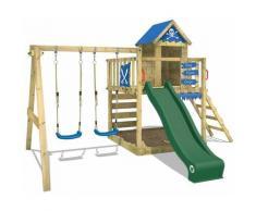 Aire de jeux Portique bois Smart Cave avec balançoire et toboggan vert Cabane enfant exterieur avec