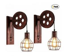 Lot de 2 Appliques Murales Industrielle, iDEGU Éclairage Mural Vintage Poulie Lampe de Mur