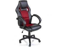 TRESKO Chaise de bureau, Fauteuil de bureau RACING SPORT GAMER Noir / Rouge Rembourrage Épais
