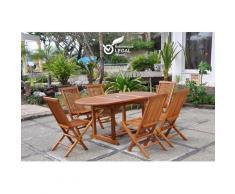 Lubok : Salon de jardin Teck huilé 6 personnes - Table ovale + 6 chaises