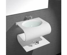 Lavabo Suspendu Design - Solid Surface Blanc Mat - 70x55 cm - Slide