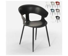 Chaise design moderne en métal polypropylène pour cuisine bar restaurant Evelyn | Noir