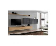 Price Factory - Ensemble meuble salon SWITCH VII design, coloris chêne Wotan et gris brillant.
