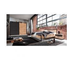 Ensemble chambre adulte complète Imitation chêne poutre rechampis raw steel - 160 x 200 cm -PEGANE-