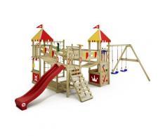 No_brand - WICKEY Aire de jeux Portique bois Smart Queen avec balançoire et toboggan rouge Maison