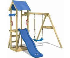 Aire de jeux Portique bois TinyWave avec balançoire et toboggan bleu Maison enfant exterieur avec