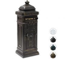 Boîte aux lettres anglaise sur pied en alu colonne vintage nostalgie, design british, bronze