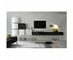 Ensemble meuble TV blanc laqué brillant et anthracite design FLORENT