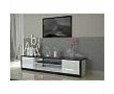 Meuble TV blanc ou blanc et noir laqué design ORIANE