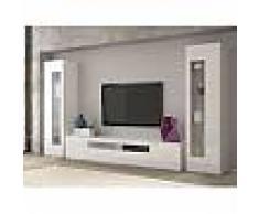 Ensemble meuble TV laqué blanc brillant design ROSALI