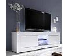 Meuble TV lumineux blanc laqué design ARIEL