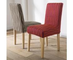 Housse chaise extensible jacquard - lot de 2 - terracotta