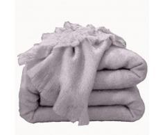 Couverture laine mohair - gris clair