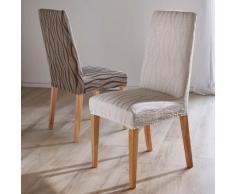 Housse chaise extensible jacquard - lot de 2 - chocolat