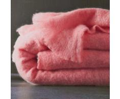 Couverture laine mohair - rose