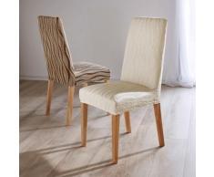 Housse chaise extensible jacquard - lot de 2 - écru