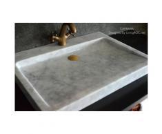 Lavabo plat Vasque en marbre Carrare véritable 70x50 CALVI WHITE