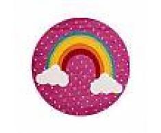 Tapis enfant noa_kids_rainbow Mauve ø 120 cm rond - Tapis pour chambre d'enfants/bébé