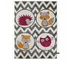 Tapis enfants Fantasia Forest Friends Mauve 120x170 cm - Tapis pour chambre d'enfants/bébé