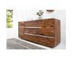 Enfilade design à 2 portes et 3 tiroirs coloris naturel en bois massif