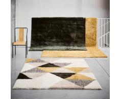 Tapis à poils longs motifs géométriques jaune 160x230cm