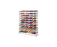 Etagère à chaussures en plastique, coloris : blanc, Dim : H140 x L72 x P25 cm -PEGANE-