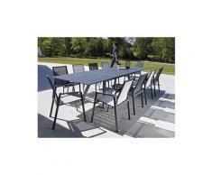 Salon de jardin design gris 8 fauteuils malouine