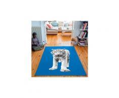 Tapis rectangulaire velours antidérapant imprimé animaux white tiger - 135 x 200 cm