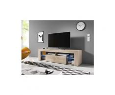 Vivaldi meuble tv - everest - 160 cm - chêne sonoma clair avec led - style design
