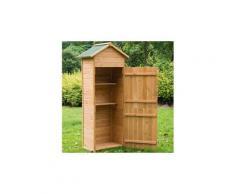 Armoire de jardin remise pour outils 79l x 49l x 190h cm 2 portes 2 étagères toit bitumé étanche bois pin pré-huilé