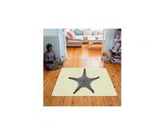 Tapis carré velours antidérapant imprimé animaux star fish - 135 x 135 cm