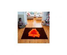 Tapis carré velours antidérapant imprimé floraux lys orange - 135 x 135 cm