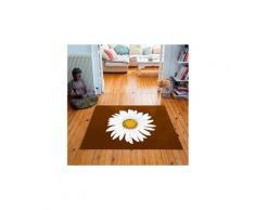 Tapis carré velours antidérapant imprimé floraux lady marguerite - 135 x 135 cm