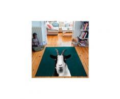 Tapis rectangulaire velours antidérapant imprimé animaux baby goat - 135 x 200 cm
