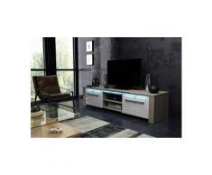 Vivaldi meuble tv - manhattan - 140 cm - chêne sonoma clair / blanc brillant avec led - style moderne