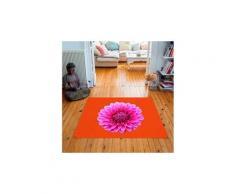 Tapis carré velours antidérapant imprimé floraux dahlia - 135 x 135 cm